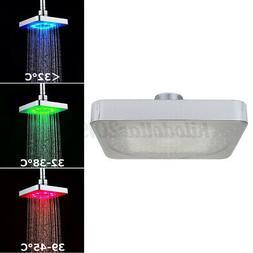 Edelstahl 360 ° Duschkopf Eckig Regendusche Kopfbrause LED