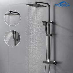 Schwarz Duschsystem mit Thermostat Regendusche Kopfbrause Ha